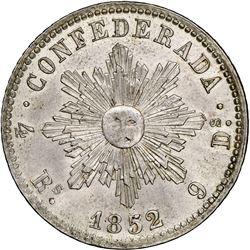 Cordoba, Argentina, 4 reales, 1852, French-style rays around sun, NGC AU details / cleaned, ex-O'Bri