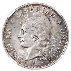 "Argentina, 1 peso ""patacon,"" 1882, NGC AU 58."