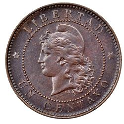 Argentina, copper 1 centavo, 1882, close 2, NGC MS 63 BN, finest known in NGC census.