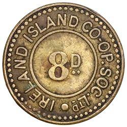Bermuda, uniface brass 8 pence token, Ireland Island Co-Operative Society Ltd. (early 1900s), very r