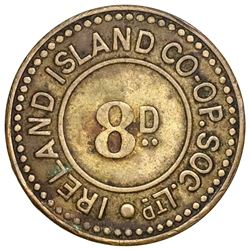 Bermuda, uniface brass 8 pence token, Ireland Island Co-Operative Society Ltd. (early 1900s), very r