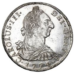 Potosi, Bolivia, bust 8 reales, Charles III, 1774JR, NGC MS 63.