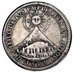 Potosi, Bolivia, medallic 2 soles, 1825, Liberators of Colombia and Peru, Cerro de Potosi / llama, P