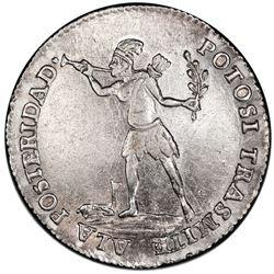 Potosi, Bolivia, medallic 2 soles, (1841), Ballivian, native / Ingavi, PCGS XF45, ex-Whittier.