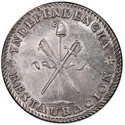 Potosi, Bolivia, medallic 1 sol, 1843, Constitution, PCGS AU details / cleaned, ex-Whittier.