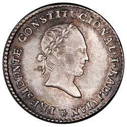 Potosi, Bolivia, medallic 1 sol, 1844, Ballivian, PCGS AU details / cleaned, ex-Whittier.