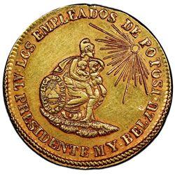 Potosi, Bolivia, gold medallic 4 escudos, 1852, Belzu / criminal, very rare, PCGS AU53.