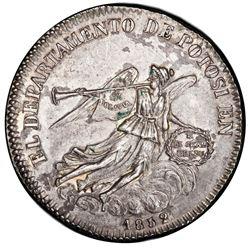 Potosi, Bolivia, medallic 2 soles, 1852, Belzu, angel and trumpet / temple, PCGS AU details / cleani