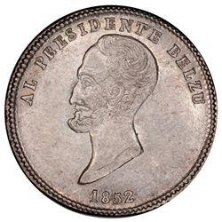 Potosi, Bolivia, medallic 1 sol, 1852, Belzu / City of Potosi, PCGS AU55, ex-Whittier.