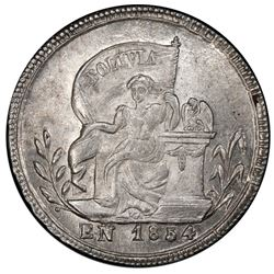 Potosi, Bolivia, medallic 1 sol, 1854, seated BOLIVIA / national dignity, PCGS MS62, ex-Whittier.