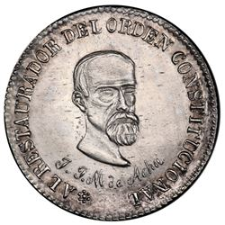 Potosi, Bolivia, medallic 1/4 peso, 1863, Acha / Constitution, PCGS UNC details / cleaning, ex-Whitt