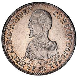 Potosi, Bolivia, medallic 2 soles, 1863, Acha / Constitution, PCGS AU details / scratch, ex-Whittier