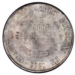 Potosi, Bolivia, medallic 1 melgarejo, 1865FP, PCGS AU55, ex-Whittier.