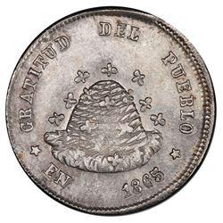 Potosi, Bolivia, medallic 1/10 boliviano, 1865, beehive / arms, PCGS MS62, ex-Whittier.