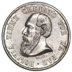 """Potosi, Bolivia, medallic """"1/3 melgarejo,"""" 1869, PCGS AU58, ex-Whittier."""