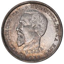 Potosi, Bolivia, medallic 20 centavos, 1879, Daza, PCGS AU details / damage, ex-Whittier.