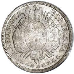 Potosi, Bolivia, 50 centavos / half boliviano, 1891CB, without weight, PCGS MS66, finest known in ei
