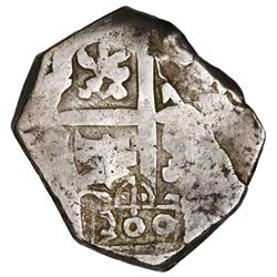 Brazil, 300 reis, crowned-300 countermark (1663) on cross side of a Seville, Spain, cob 4 reales, Ph