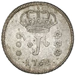 Brazil, 600 reis, Jose I, 1764-R, NGC VF 35, finest known in NGC census.