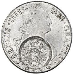 Brazil (Minas Gerais), 960 reis counterstamp (1809, Joao Prince Regent) on a Potosi, Bolivia, bust 8
