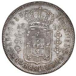 Brazil (Rio mint), 960 reis, Joao Prince Regent, 1815-R, medal axis, struck over a Santiago, Chile,