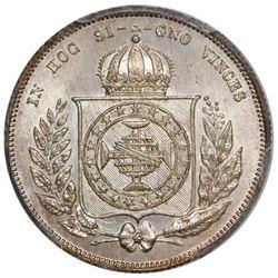 Brazil, 200 reis, Pedro II, 1867, wreath type, PCGS MS67, finest known in PCGS census.