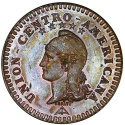 "Central American Union, proof bronze essai 2 centavos, 1889, NGC PF 64 BN, ""top pop."""