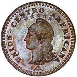 "Central American Union, proof bronze essai 2 centavos, 1889, NGC PF 64 BN, ""top pop."""