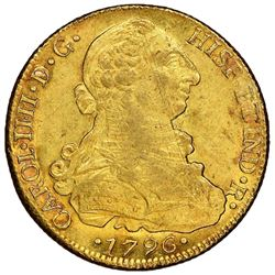 Santiago, Chile, gold bust 8 escudos, Charles IV, 1796DA, NGC MS 61.