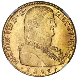 "Santiago, Chile, bust 8 escudos, Ferdinand VII transitional (""admiral"" bust), 1811FJ, NGC MS 63+, fi"