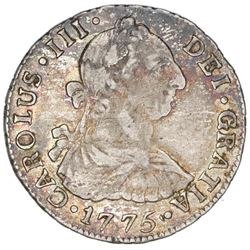 Santiago, Chile, bust 2 reales, Charles III, 1775DA.