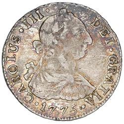 Santiago, Chile, bust 2 reales, Charles III, 1775DA.