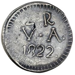 Valdivia, Chile (emergency issue), billon 2 reales, 1822, rare, NGC XF 40.