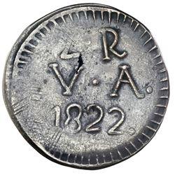 Valdivia, Chile (emergency issue), billon 2 reales, 1822, rare, NGC XF 40.