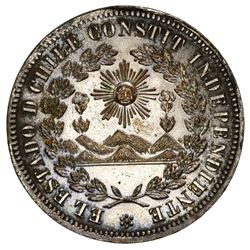 Santiago, Chile, pattern 8 escudos in silvered brass, no date (1835), PCGS MS62.