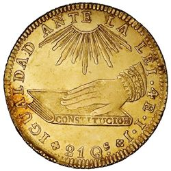 "Santiago, Chile, gold 4 escudos, 1836IJ, ""hand on book."""