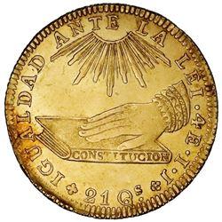 Santiago, Chile, gold 4 escudos, 1836IJ,  hand on book.