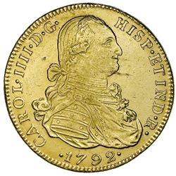 Bogota, Colombia, gold bust 8 escudos, Charles IV, 1792JJ, no dot between J's.
