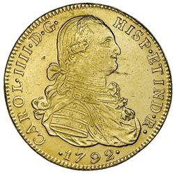 Bogota, Colombia, gold bust 8 escudos, Charles IV, 1792JJ, no dot between J's.