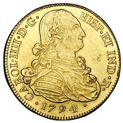Popayan, Colombia, gold bust 8 escudos, Charles IV, 1794JF.