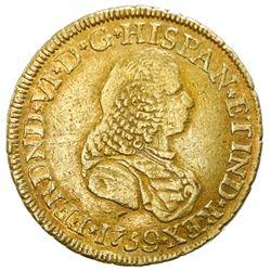 Popayan, Colombia, gold bust 2 escudos, Ferdinand VI, 1759J, NGC VF 30, ex-Jones.