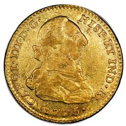 Bogota, Colombia, gold bust 2 escudos, Charles III, 1775JJ, no dot between J's, PCGS AU53.