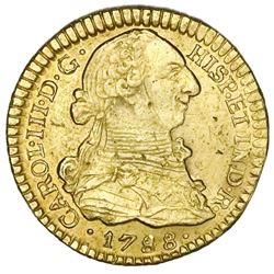 Popayan, Colombia, gold bust 1 escudo, Charles III, 1788SF.