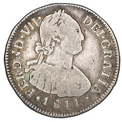 Popayan, Colombia, bust 2 reales, Ferdinand VII (bust of Charles IV), 1811JF.