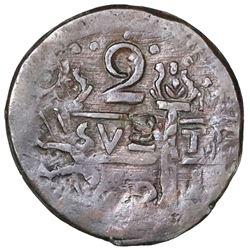 "Cartagena, Colombia, copper ""imitation cob"" 2 reales, fantasy date ""800"" (ca. 1815), struck over Car"