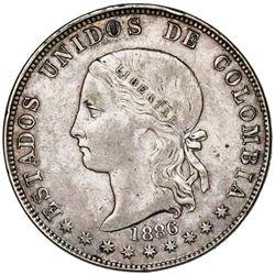 Medellin, Colombia, 5 decimos, 1886, round-top 3 in fineness, very rare.