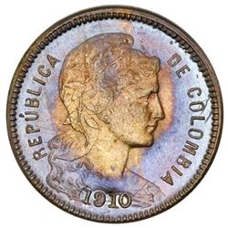 Colombia, copper-nickel 1 peso papel moneda, 1910AM, NGC MS 64,  top pop.