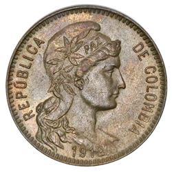 Colombia (Heaton mint), copper-nickel 1 peso papel moneda, 1912-H, NGC MS 64.