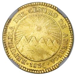 Costa Rica (Central American Republic), gold 2 escudos, 1835F, NGC XF details / removed from jewelry