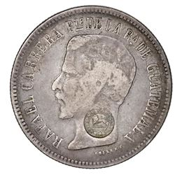 "Costa Rica, 2 reales, ""lion"" countermark (Type VI, 1849-57) on a Guatemala 2 reales 1861R, unique(?)"